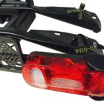 Portabicis Amber II detalle sujeta ruedas y luces