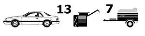 Adaptador 13/7 13 coche 7 Remolque