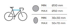 Dimensiones max-min cuadros bicis portabicis Menabo