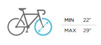 Portabicis Menabo Logic, tamaño de ruedas admitidos