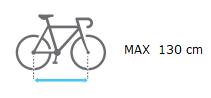 Distancia max entre ejes bici 130 cm