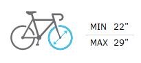 Tamaños rueda bici admitidos min 22 - max 29