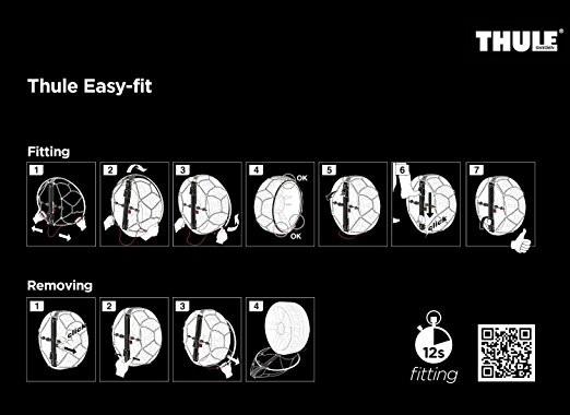 Cadenas nieve Thule Easy-Fit detalle intrucciones en bolsa